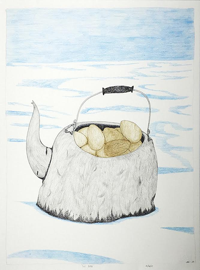 Full Kettle<br>30 x 23<br>Graphite, Coloured Pencil and Ink<br> $ 1950