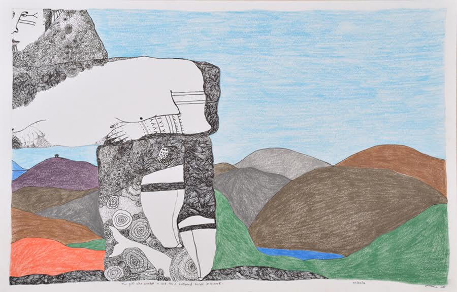 The Girl Who Wanted a Rock for a Husband Turns into a Rock<br>15 x 23<br>Graphite, Coloured Pencil and Ink<br> $950