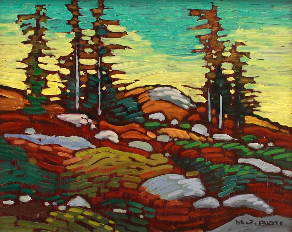 Pines, West Slope (1992)<Br>8 x 10<Br>Oil on Board<Br>SOLD