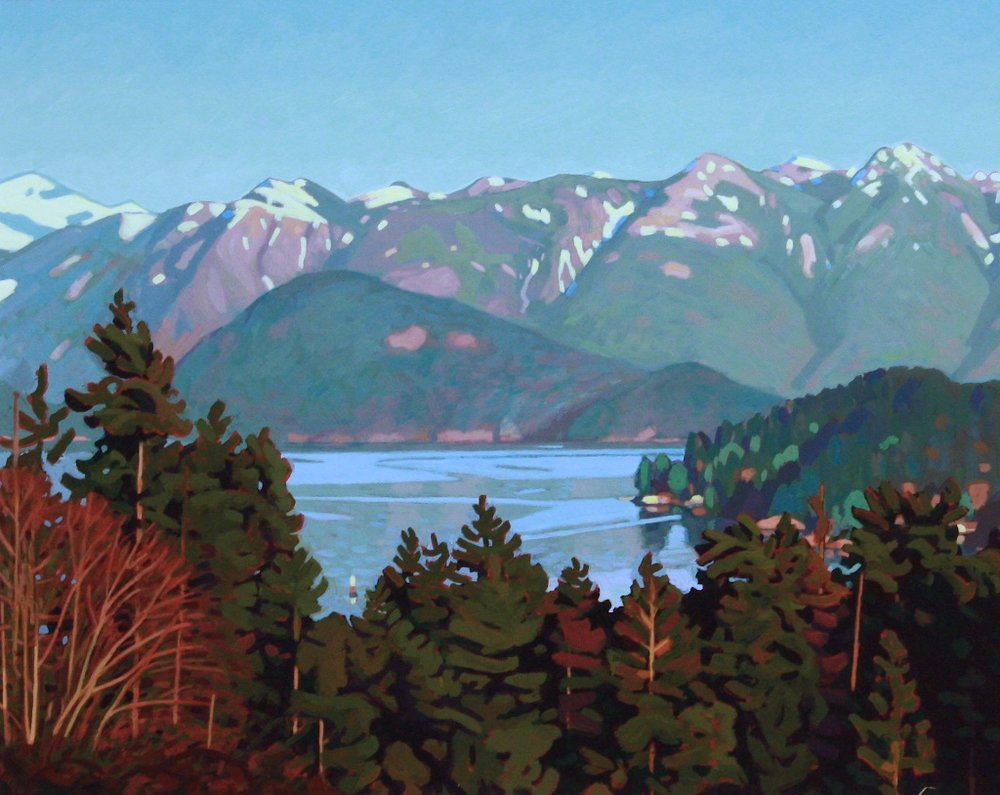 Howe Sound from Gospel Rock<Br>16 x 20<Br>Acrylic on Board<Br>SOLD