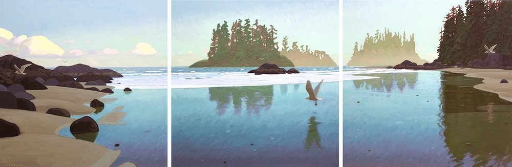 Pacific Rim (Triptych)<Br>36 x 108<Br>Acrylic on Canvas<Br>$ 12 500