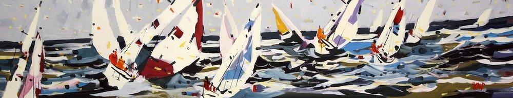 Regatta Tartan<Br>12 x 60<Br>Acrylic on Canvas<Br>$ 2975