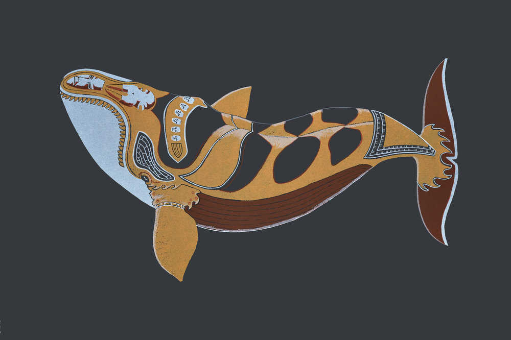 Tattooed Whale (17S-01)<Br>30 x 44<Br>Screenprint<Br>$ 1500
