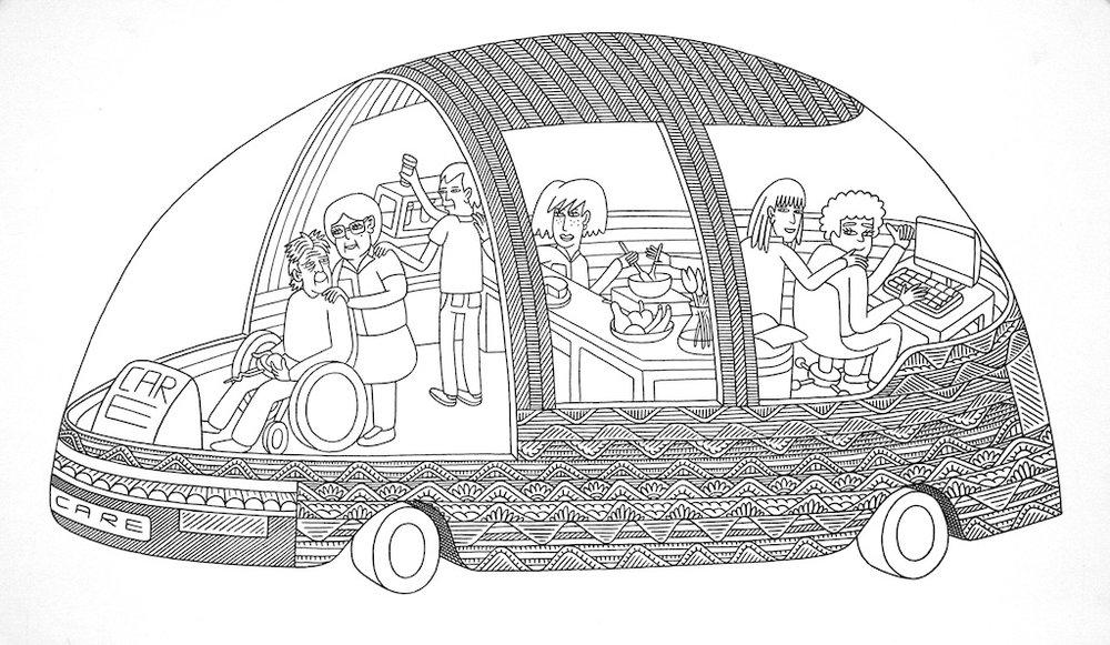 Car Care<Br>9.5 x 16<Br>Ink on Paper<Br>$ 650