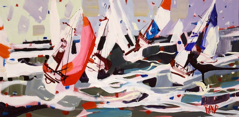 Rick Bond<Br>Race Day Weather<Br>12 x 24<Br>Acrylic on Canvas<Br>$ 1450
