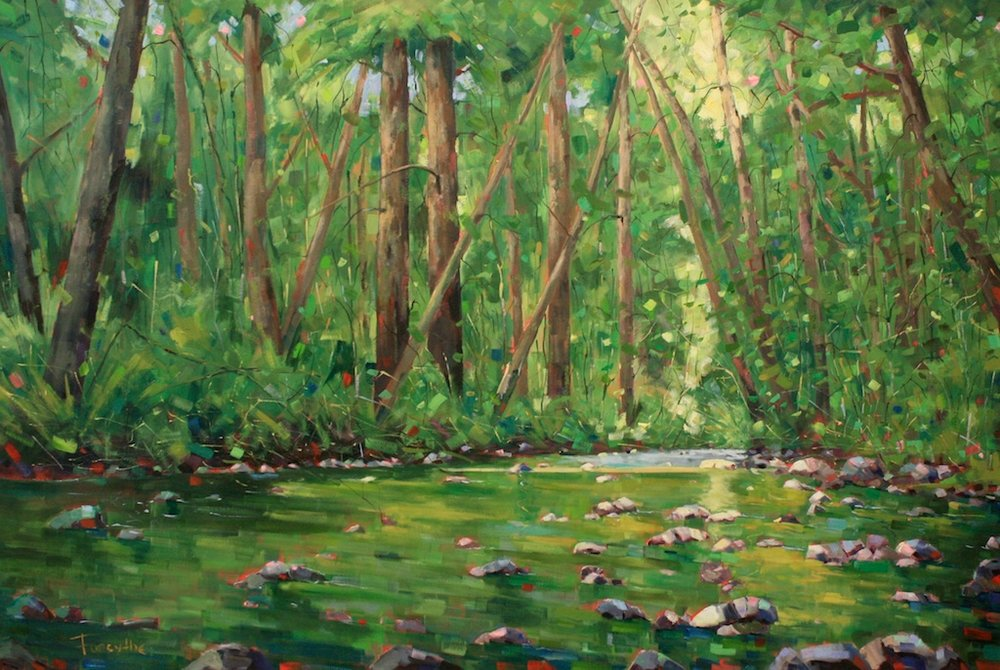 Graham Forsythe<Br>Green Symphony<Br>48 x 72<Br>Oil on Canvas<Br>$ 8000