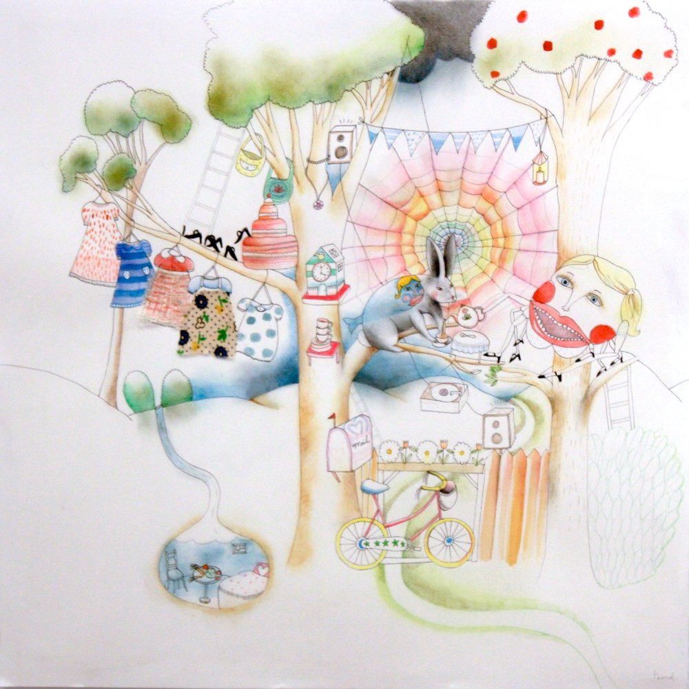 Tamara Bond<Br>Seven<Br>22.5 x 22.5<Br>Mixed Media on Paper<Br>$ 1300