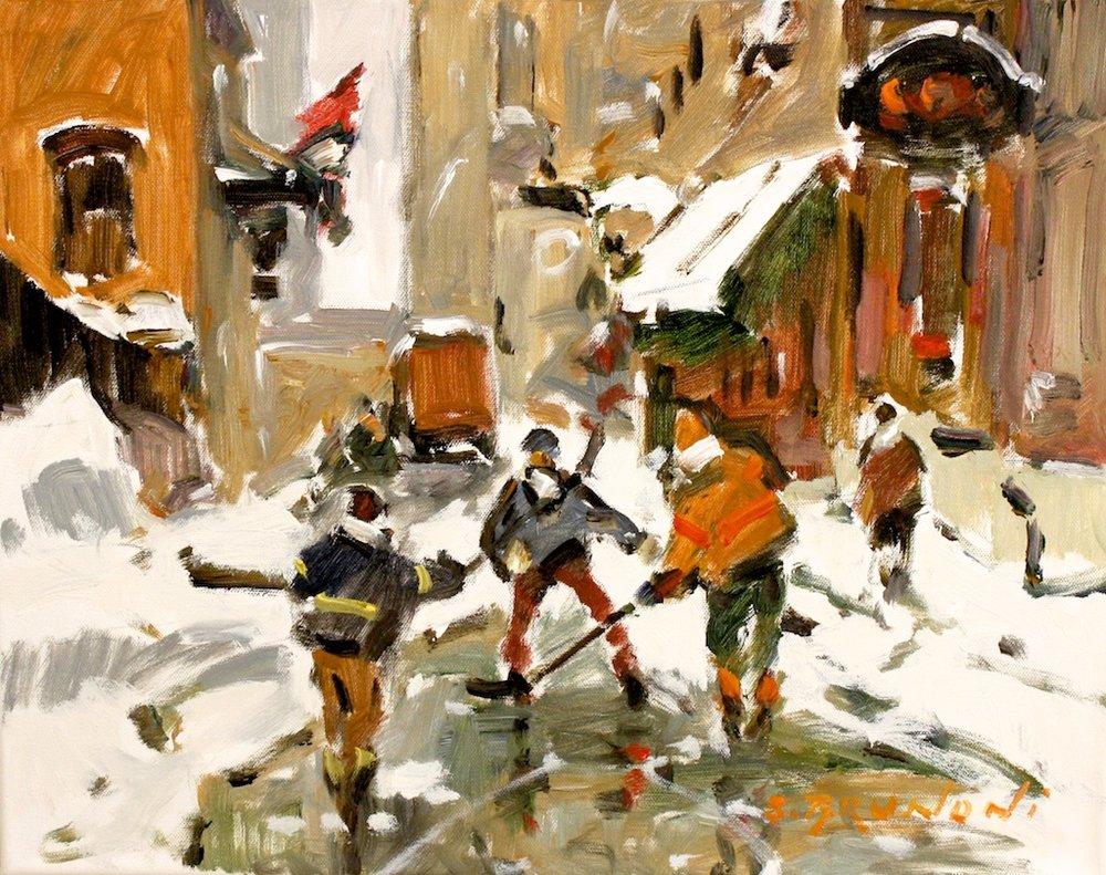 Hockey Street<Br>16 x 20<Br>Oil on Canvas<Br>$ 1,900