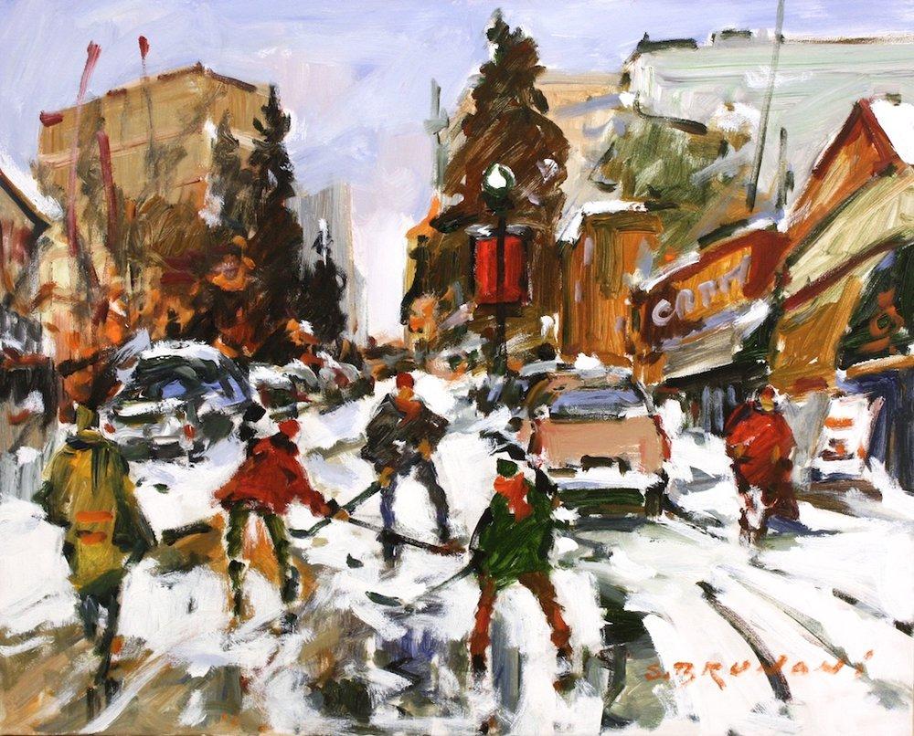 Hockey Street Calgary<Br>24 x 30<Br>Oil on Canvas<Br>$ 3,375