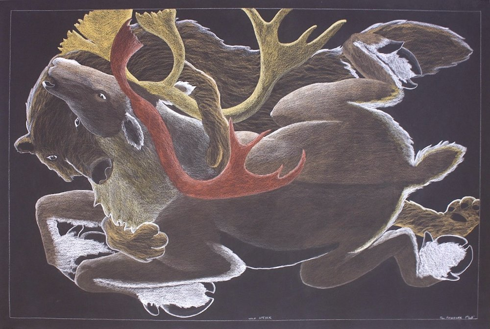 Wolf Attack<Br> 38 x 44<Br>Coloured Pencil, Graphite and Ink on Paper<br>$ 4500