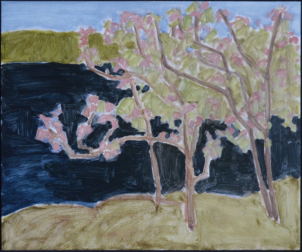 Barry Hodgson<br>White Oak in Flower<br>15 x 18<br>Oil on Panel<br>$ 1500