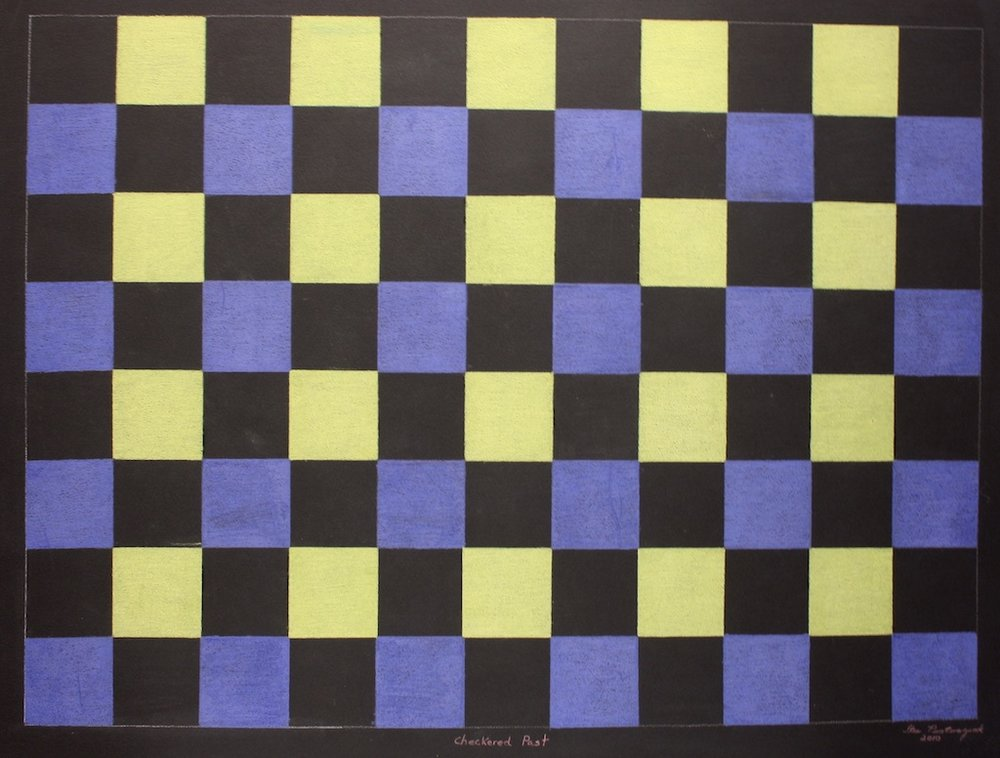 Checkered Past (152-0418)<br>20 x 26<br>Graphite, Colour Pencil and Ink<br>$ 1500 (Framed)