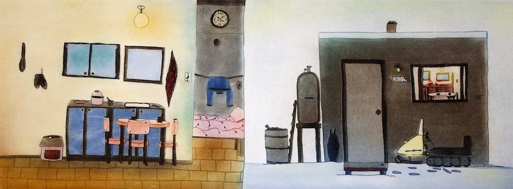 Interior and Exterior (PT3316)<br>15.5 x 33<br>Etching and Aquatint<br>$ 1800