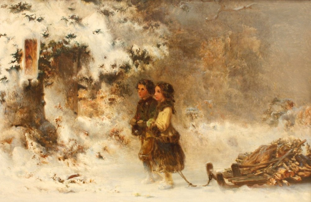 Two Children Hauling Firewood (1870), Otto Jacobi, 13 x 19, Oil on Canvas