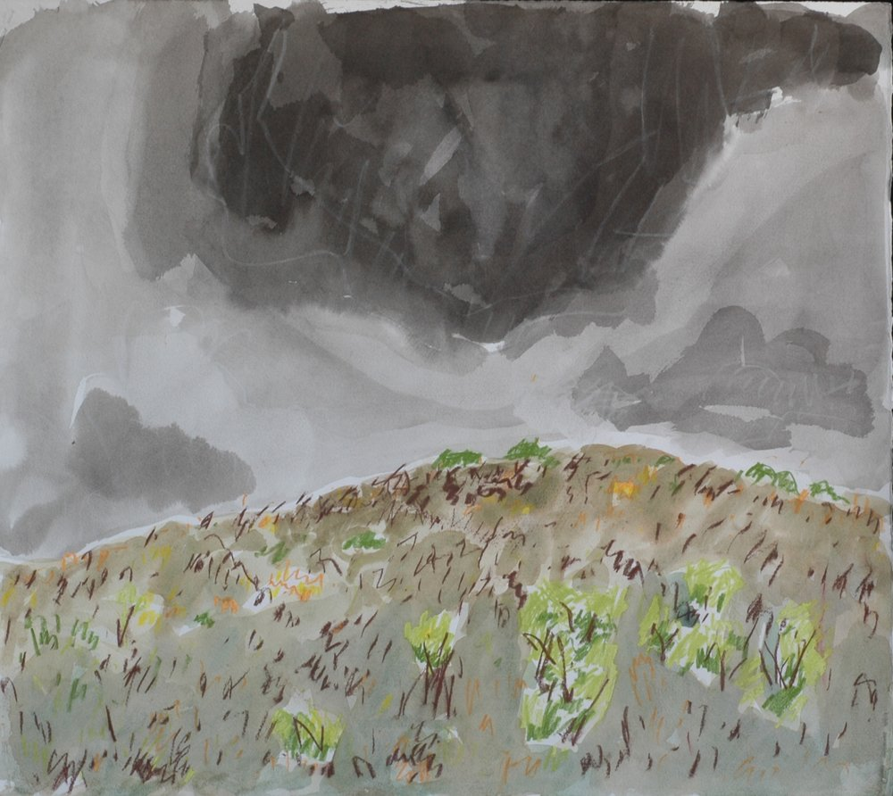 Dark Cloud, Westover<br>20 x 22 <br>Ink, Pastel and Watercolour on Paper<br>$ 1350