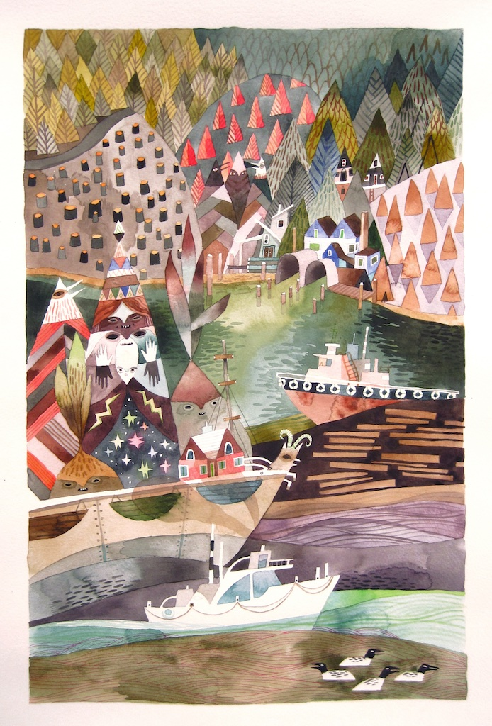 The Kinglet's Regatta<Br>18 x 11.5<Br>Watercolour on Paper<Br>SOLD