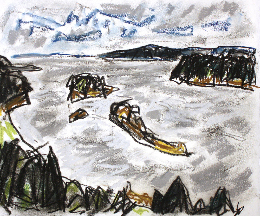 Departure Bay I<br>10 x 12<br> Conte and Pastel on Paper<Br>$ 845