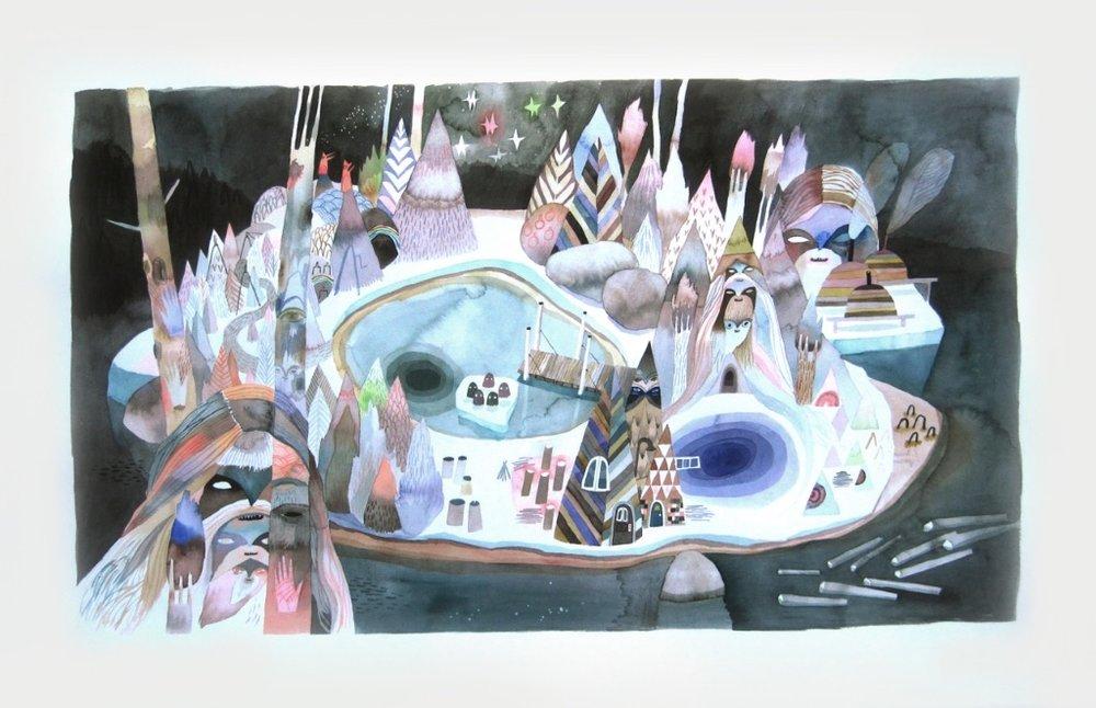 Balaclava<Br>Meghan Hildebrand<Br>26 x 40.25<Br>Watercolour