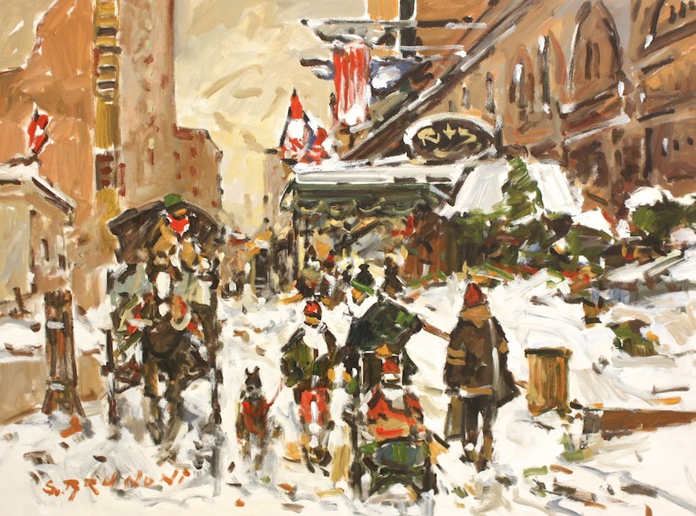 Montreal, Sherbrooke St. - Ritz Carleton<br>30 x 40<br>Acrylic on Canvas<br>$ 5450