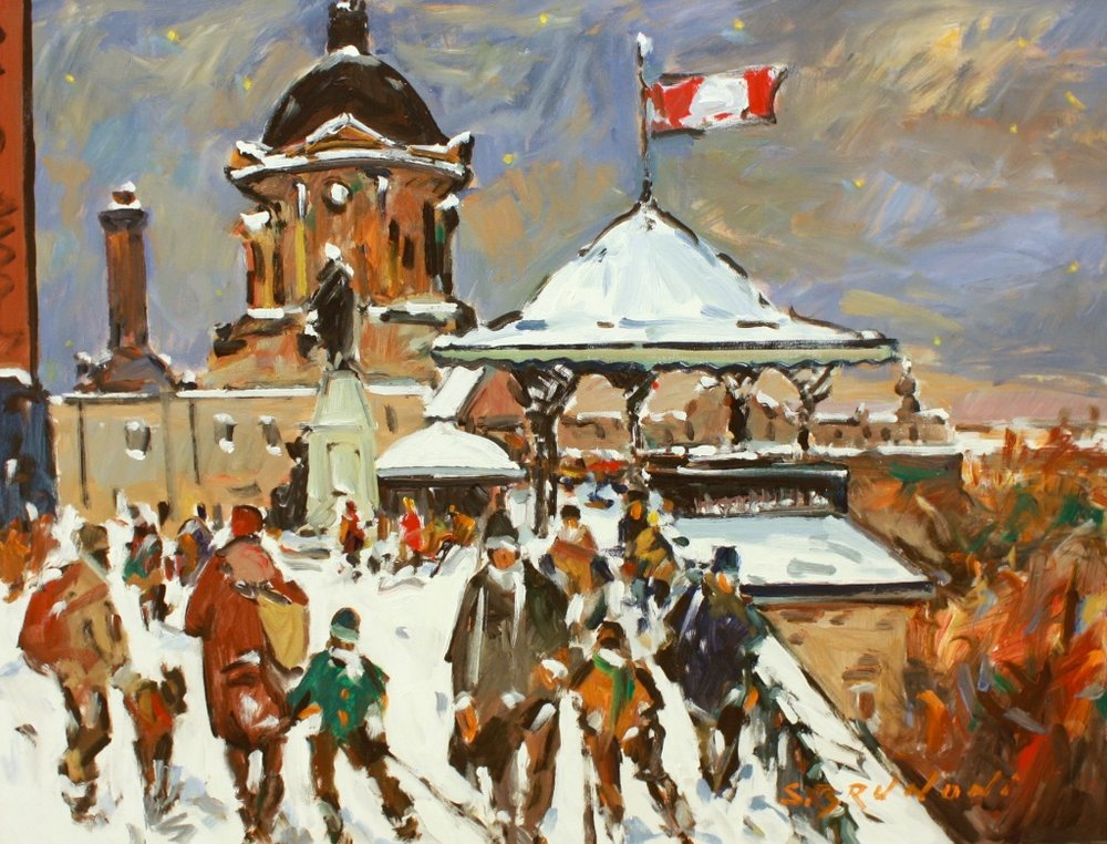Quebec - Dufferin Terrace<br>30 x 40<br>Acrylic on Canvas<br> $5450