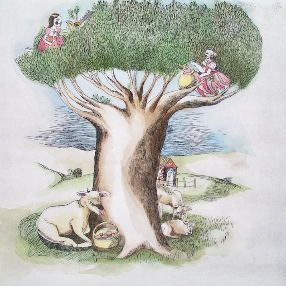 Human Animal Island <br> Tamara Bond <br> 11.5 x 11.5 <br> Hand Colour Etching