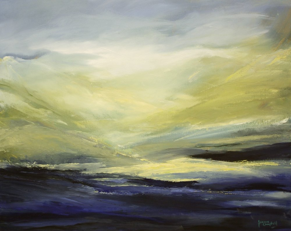 Whiffen Spit at Dawn <br> Jeanne Campbell <br> 24 x 30 <br> Oil on Canvas