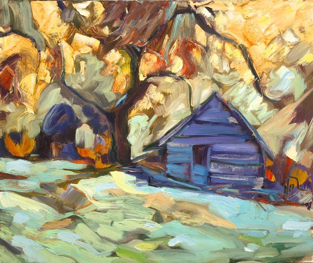 Butch Cassidy Barn <br> Halin de Repentigny <br> 20 x 24 <br> Oil on Canvas<Br>SOLD