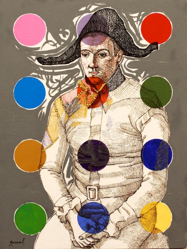 Harlequin Over Dots <br> Kapil Harnal <br> 16 x 12 Ink and Oil on Wood