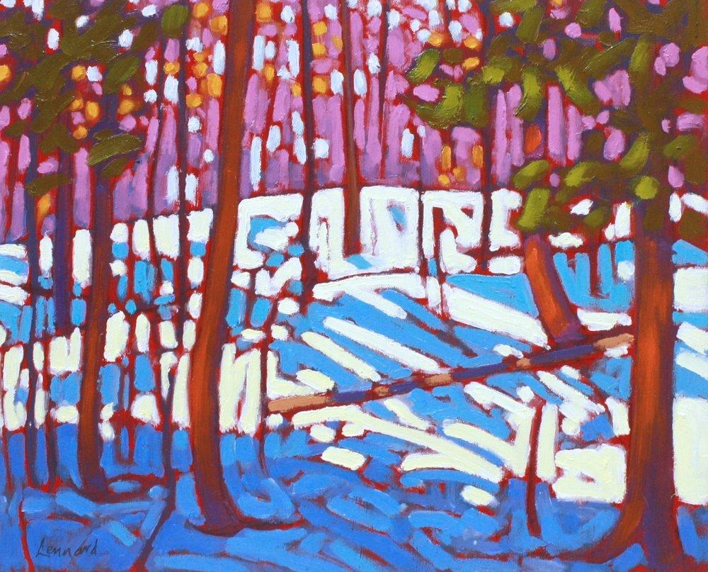Winter Woods <br> John Lennard <br> 8 x 10 <br> Oil on Board