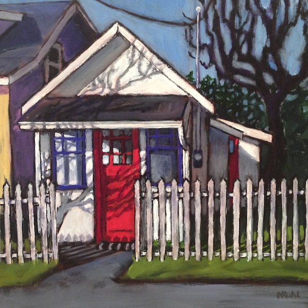 The Very Small House  <br> Nancy Ruhl <br> 16 x 16 <br> Acrylic on Canvas