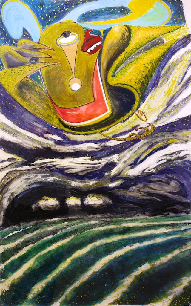 Ocean Bird <br> Michael Nicoll Yahgulanaas <br> 40 x 26 <br> Acrylic on Paper