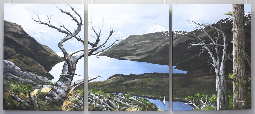 Safe Harbour <br> Karel Doruyter <br> 40 x 90 (triptych) <br> Acrylic on Canvas