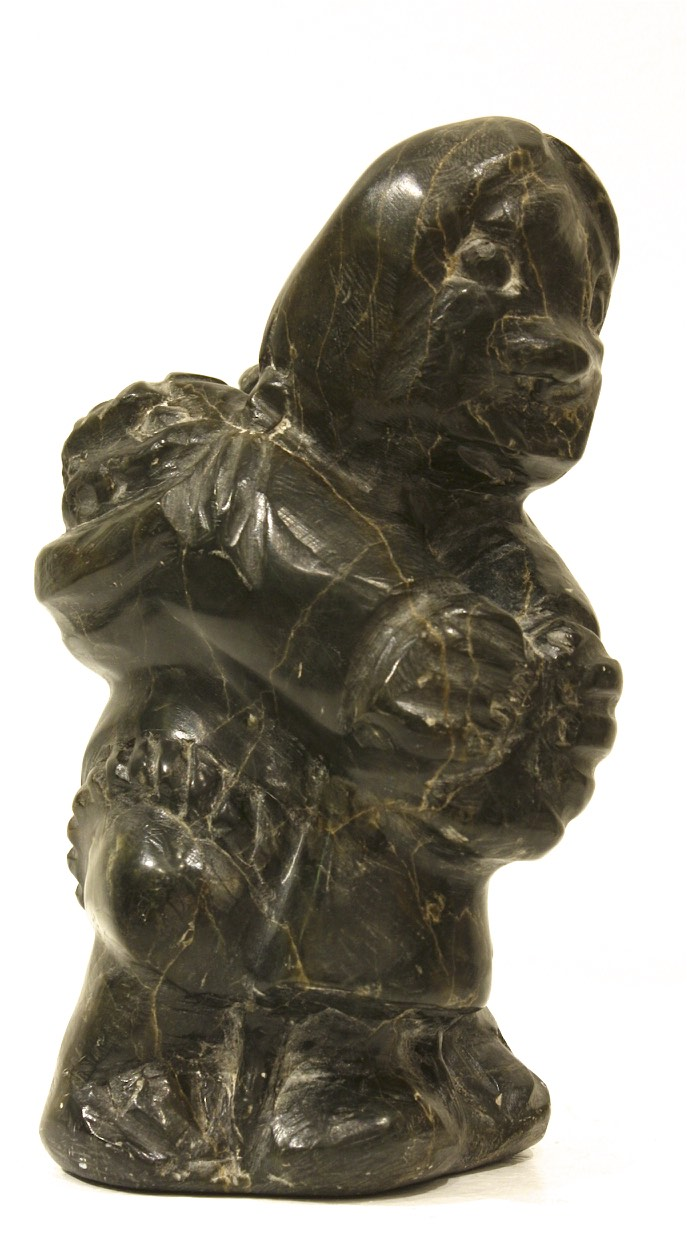 Woman With two Babies <br> Johhn Inkupk <br> 8 x 4 x 4.5 <br> Soapstone