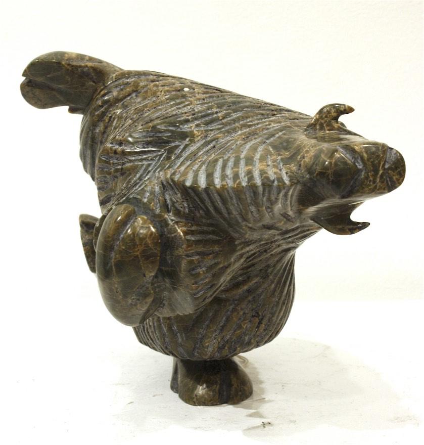 Dancing Musk Ox <br> Pitseolak Qimirpik <br> 7.5 x 9 x 9 <br> Serpentine