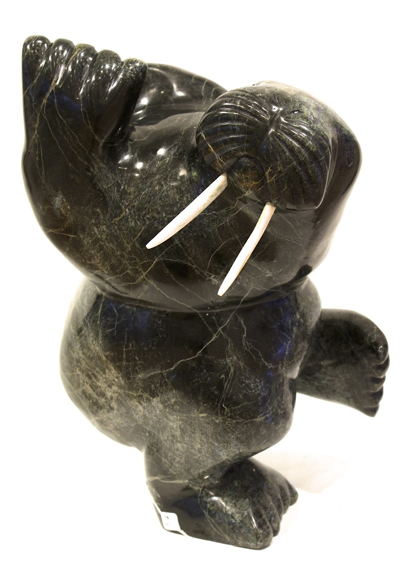 Dancing Walrus  16.5 x 13 x 8  Serpentine and Bone  SOLD