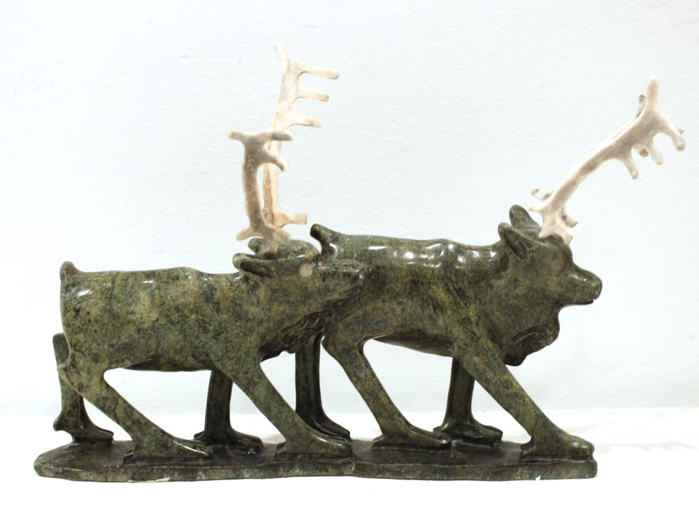 Caribou<Br>12 x 8 x 3<Br>Serpentine and Antler<Br>$ 1500