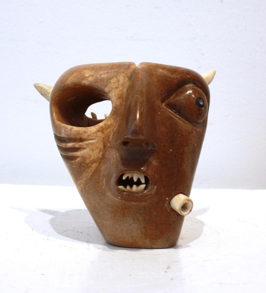 Shaman (1991)  5 x 5 x 5  Soapstone and Bone  SOLD