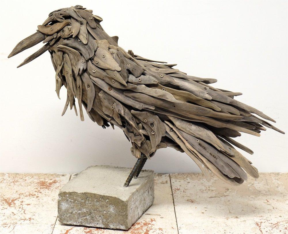 Trouble (Raven)  21.5 x 27 x 10  Wood, Rebar, Concrete  SOLD