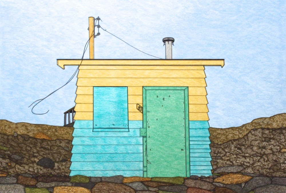 House #93 (191-0549)<Br>Nicotye Samayualie<Br>23 x 30<Br>Coloured Pencil on Paper<Br>$ 1350