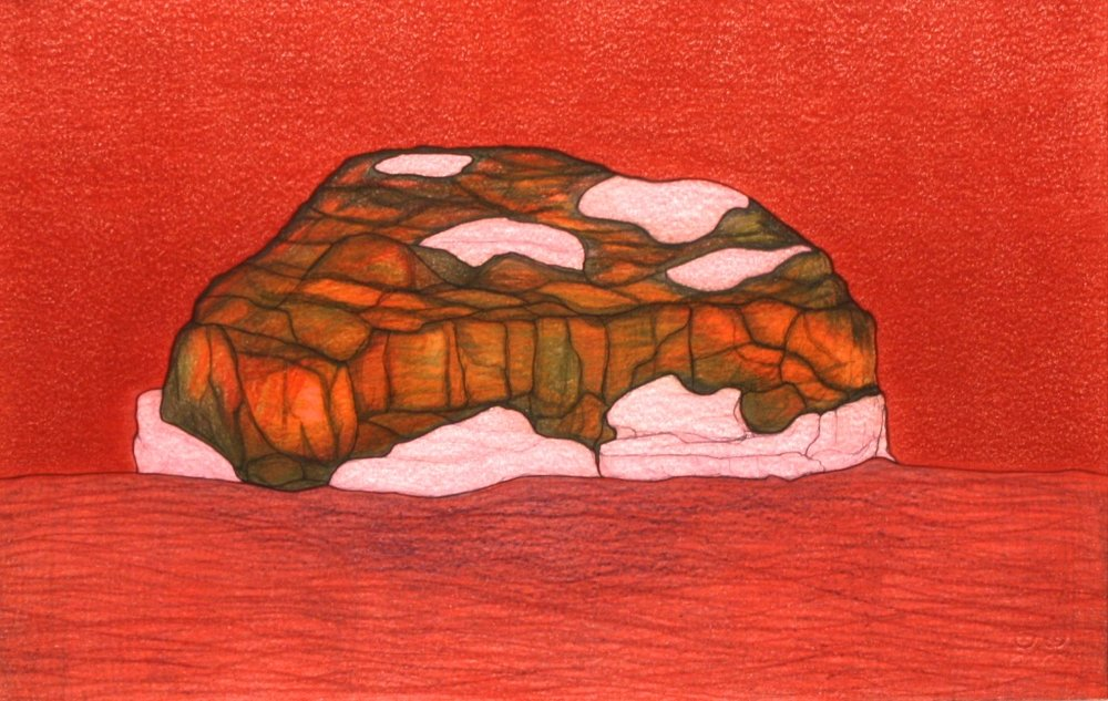 Red Landscape (196-0244)<Br>Pudlo Samayualie<Br>15 x 23<Br>Coloured Pencil on Paper<Br>SOLD