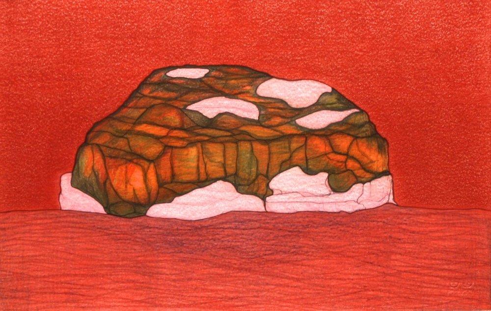 Red Landscape (196-0244)<Br>Pudlo Samayualie<Br>15 x 23<Br>Coloured Pencil on Paper<Br>SOLD