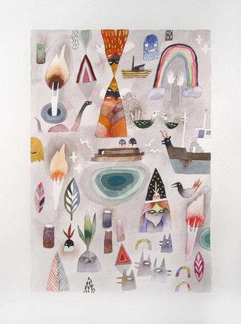 Symbols at Your Door<Br>Meghan Hildebrand<Br>11.5 x 7.5<Br>Watercolour<Br>$ 1050