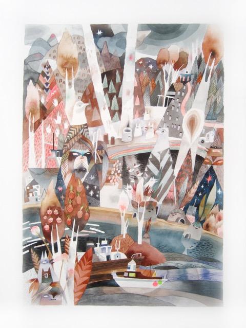 Black Sparkle<Br>Meghan Hildebrand<Br>25 x 17.5<Br>Watercolour<Br>$ 2400