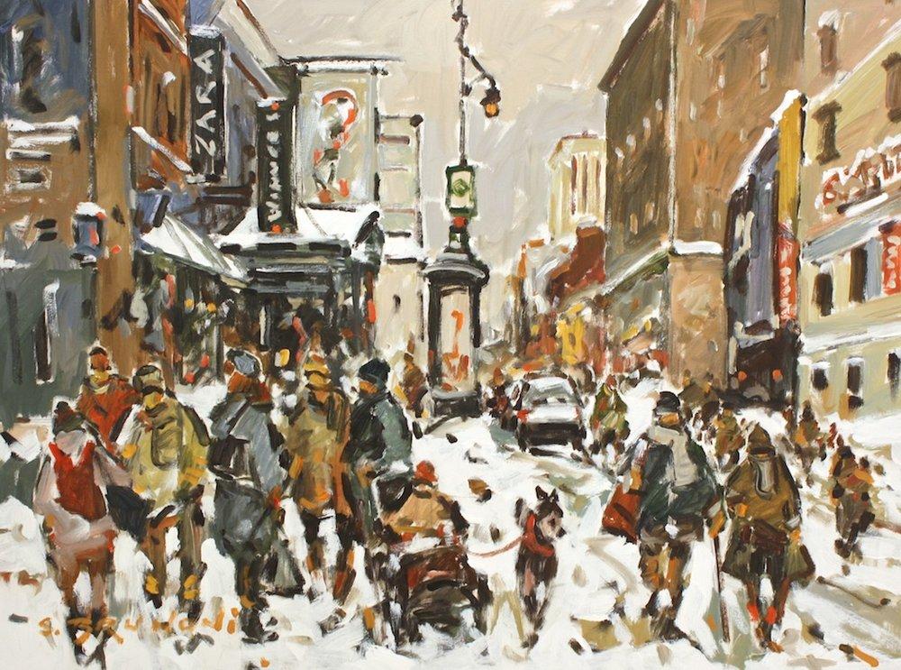 Montréal, Rue Ste Catherines<br>30 x 40<br>Acrylic on Canvas<Br>$ 5450
