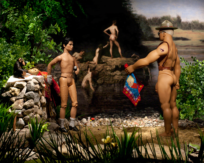 The Swimming Hole (Michael and His Body Guard)(6/20)<Br>Diana Thorneycroft<Br>24 x 30<Br>Digital Photography<Br>$ 2800