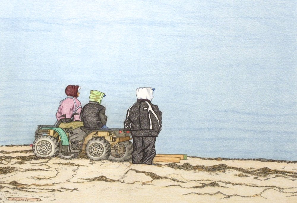 People on ATV (196-0107)<Br>Pudlo Samayualie<Br>23 x 30<Br>Coloured Pencil on Paper<Br>$ 1550