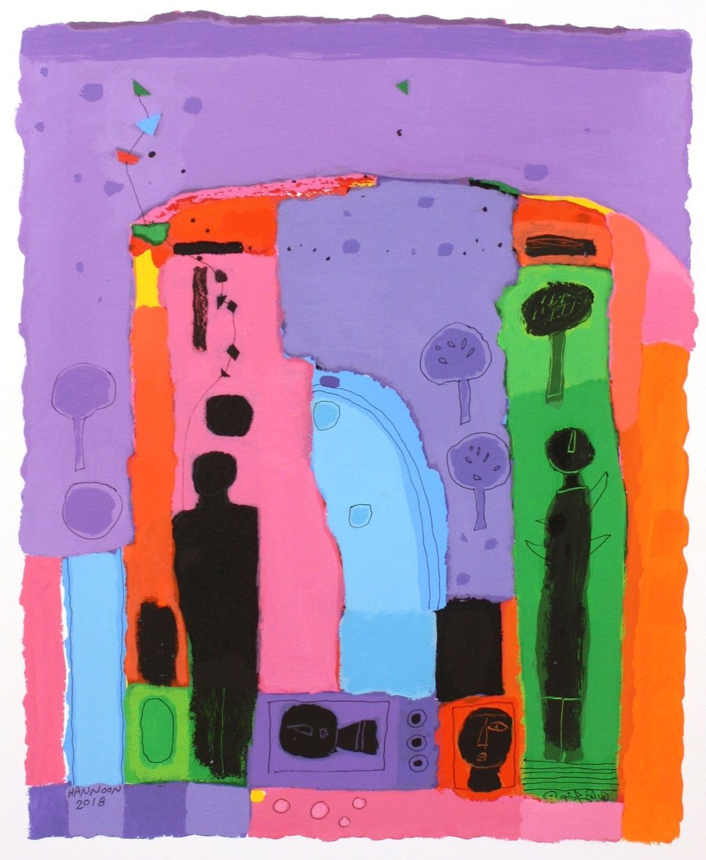 Wonderful World I<br> Hashim Hannoon <br> 24.5 x 19.5 <br> acrylic on paper <br> $2000