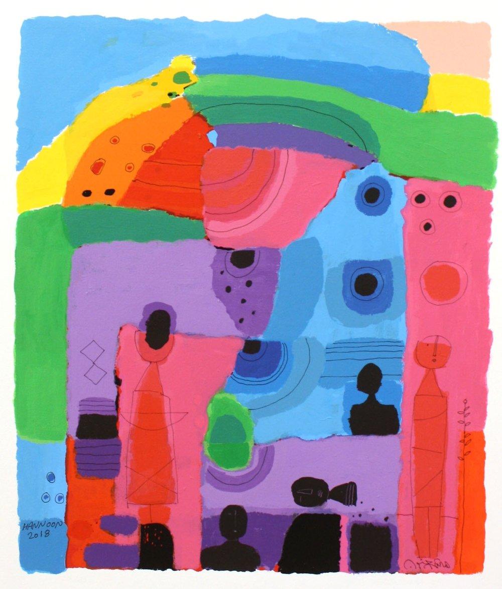 Wonderful World II<br> Hashim Hannoon <br> 24. 5 x 19.5 <br> Acrylic on Paper <br> $2000