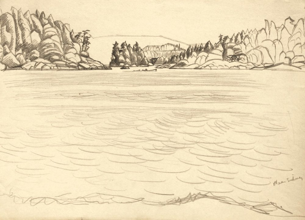 E.J. Hughes<br>Near Sidney<br> 8.75 x 12<br>Graphite<br> C. 1948<br>SOLD