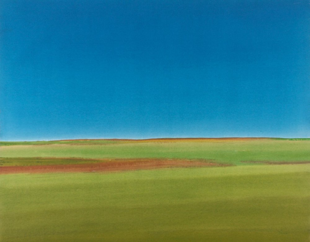 Takao Tanabe <br> The Land 13-76<br> 56 x 69 <br> Acrylic on Canvas <br> SOLD